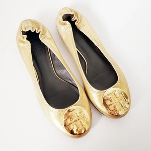 Tory Burch Reva Gold Metallic Leather Ballet Flats